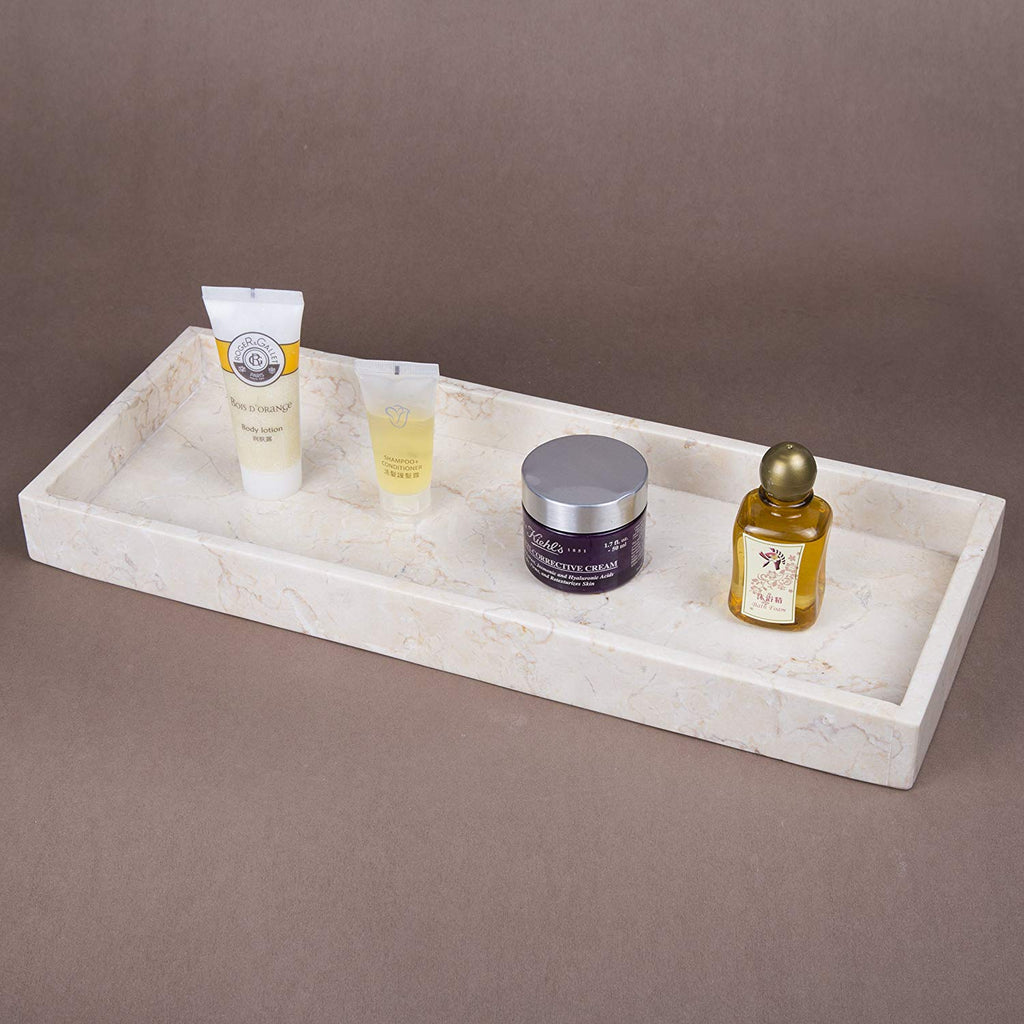 Creative Home Natural Champagne Marble Stone Vanity Tray, Organizer Tray