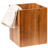 Creative Home Solid Acacia Wood Square Waste Basket Recycle Bin, Trash Can
