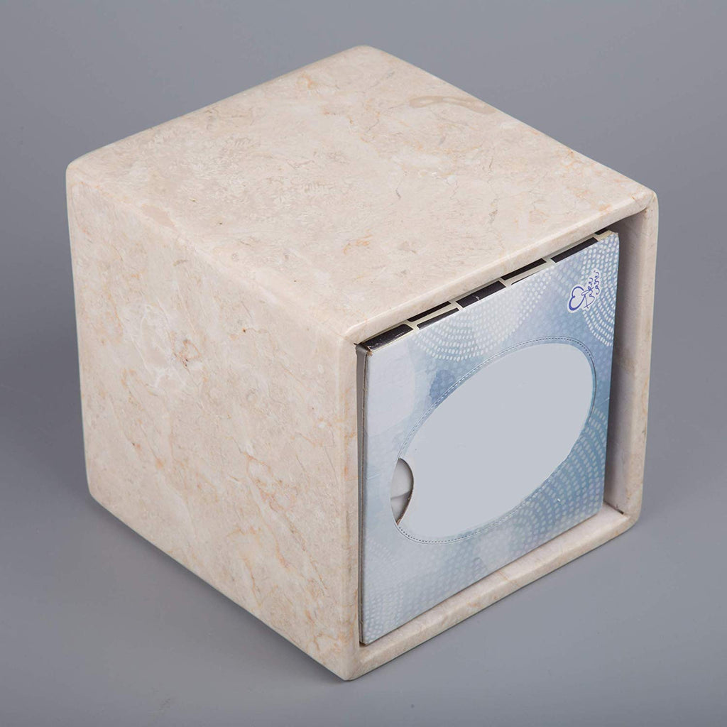 Natural Champagne Marble Tissue Box Cover, Holder