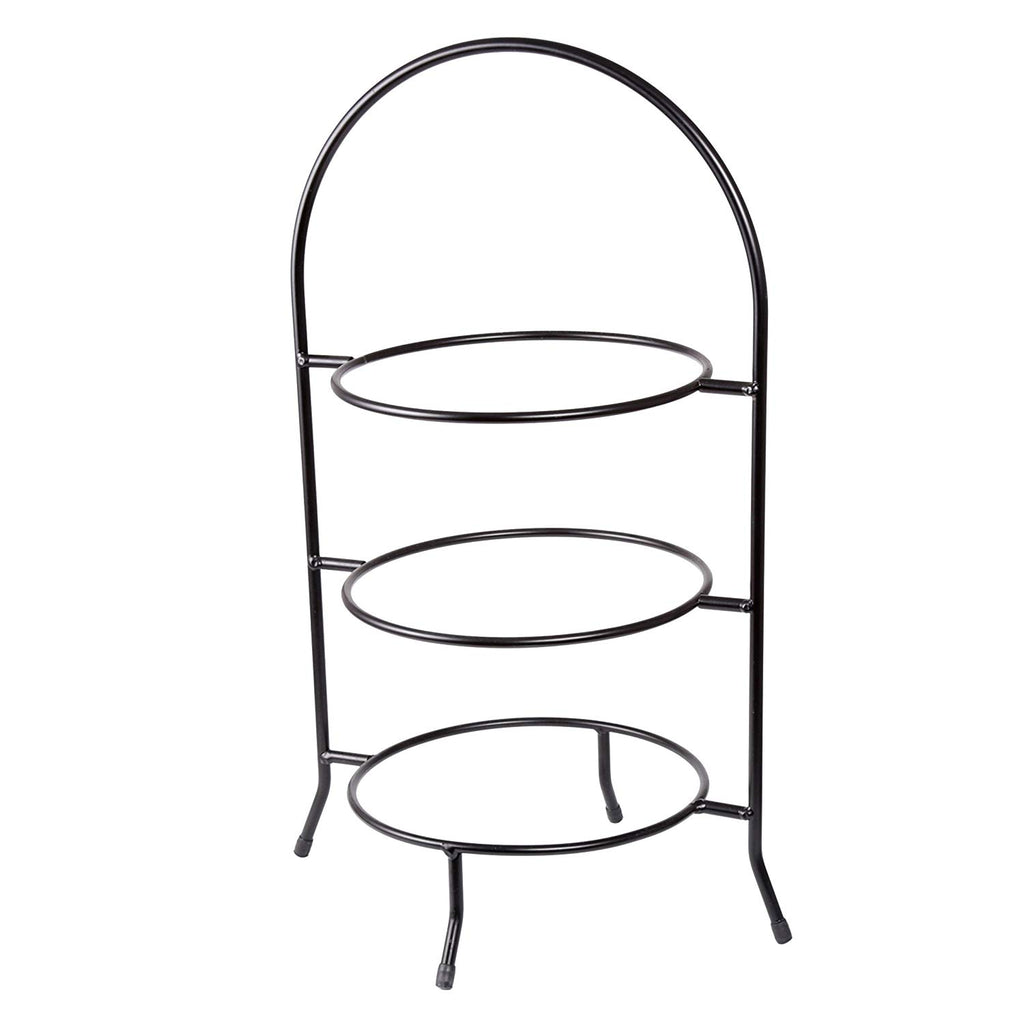 "Creative Home Iron Works 3-Tier Metal Dinner Plate Rack Party Food Server, 20"" H, Black"