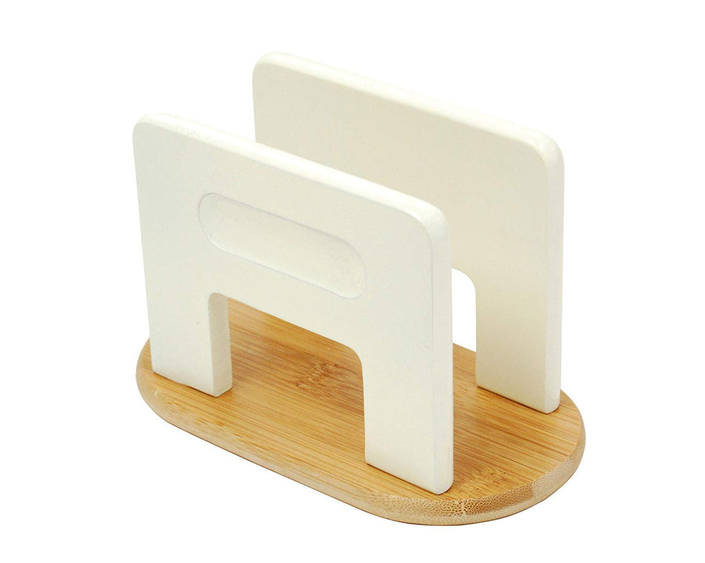 Stained Bamboo Napkin Holder, Off-White