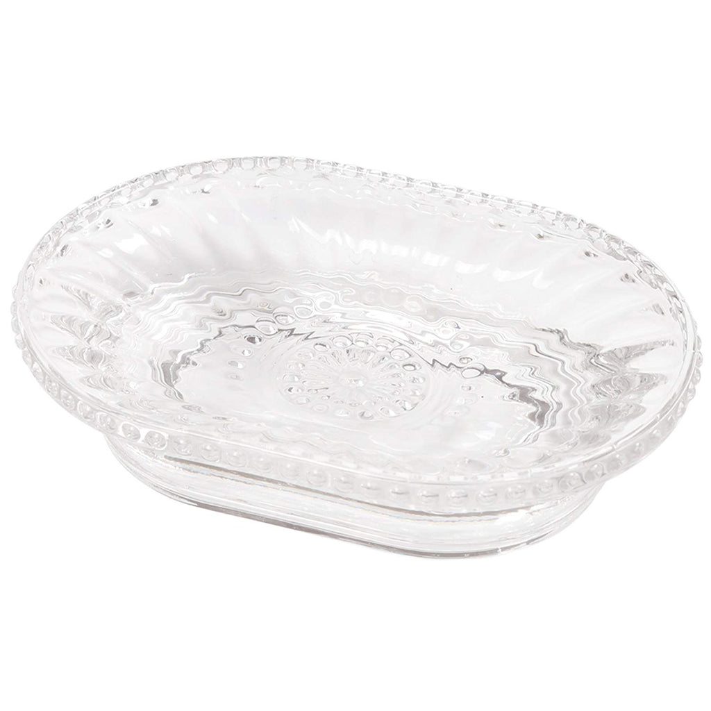 Creative Home Floral Scroll Tradition Clear Glass Bar Dish, Soap Tray, Holder