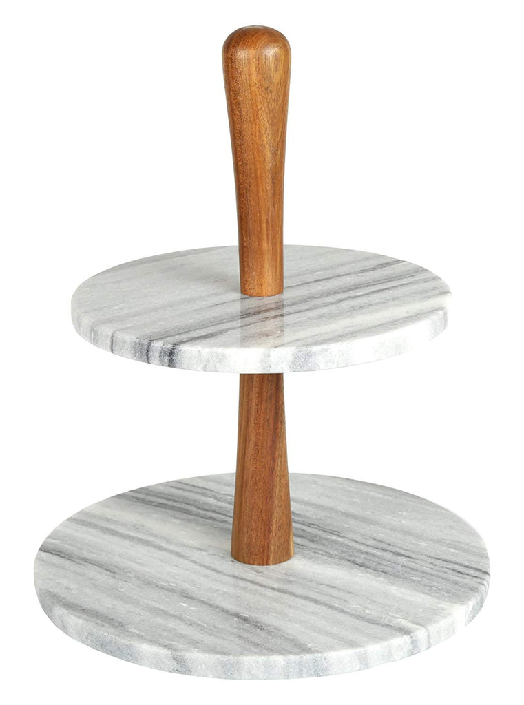 "Natural Marble Stone and Acacia Wood 2-Tier Cake Stand Dessert Server 10"" Diam. x 11-3/4"" H Grey"