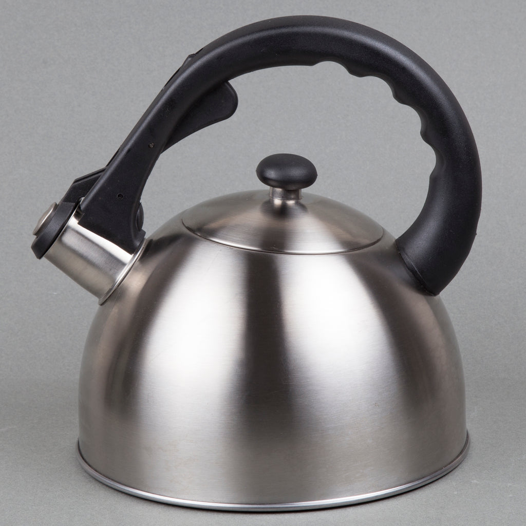 Satin Splendor 2.8 Quart Stainless Steel Whistling Tea Kettle with Capsulated Bottom, Metallic Cranberry