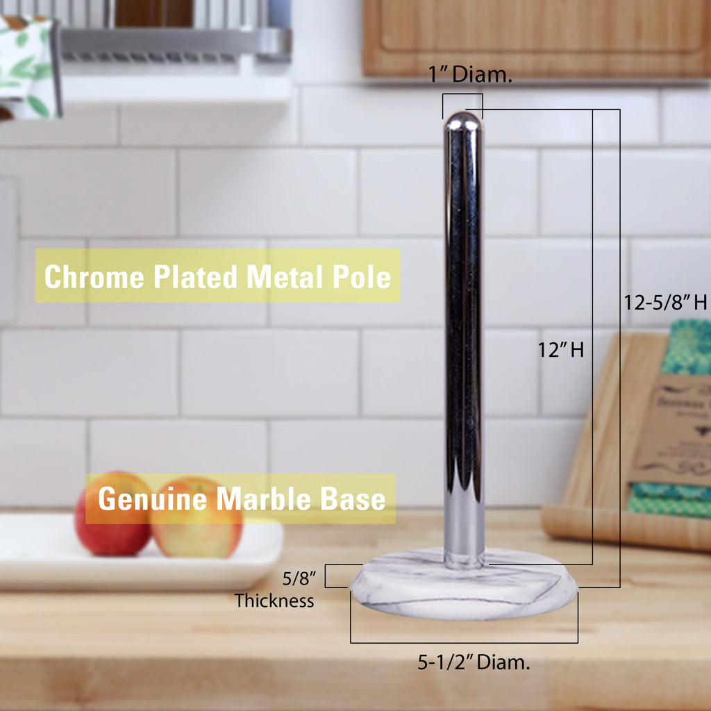 Creative Home Natural Marble Base Paper Towel Holder Kitchen Towel Dispenser, with Chrome Plated Pole