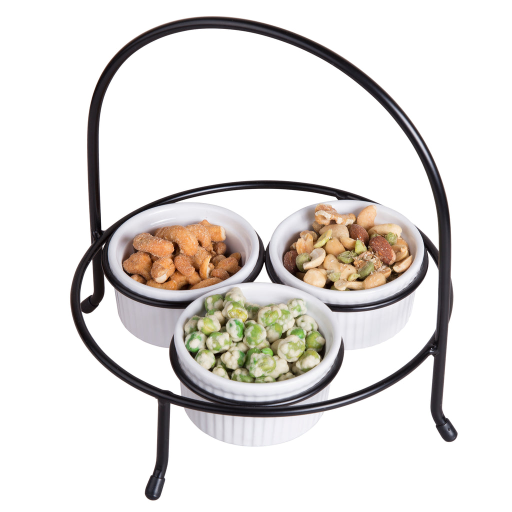 Creative Home Iron Works 4 pc Set, 3 Ramekins with Black Holder Condiment Set
