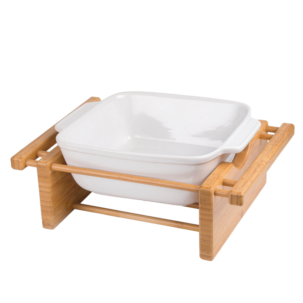 "Creative Home Grand Buffet 9"" Square Stoneware Dish with Bamboo Cradle"