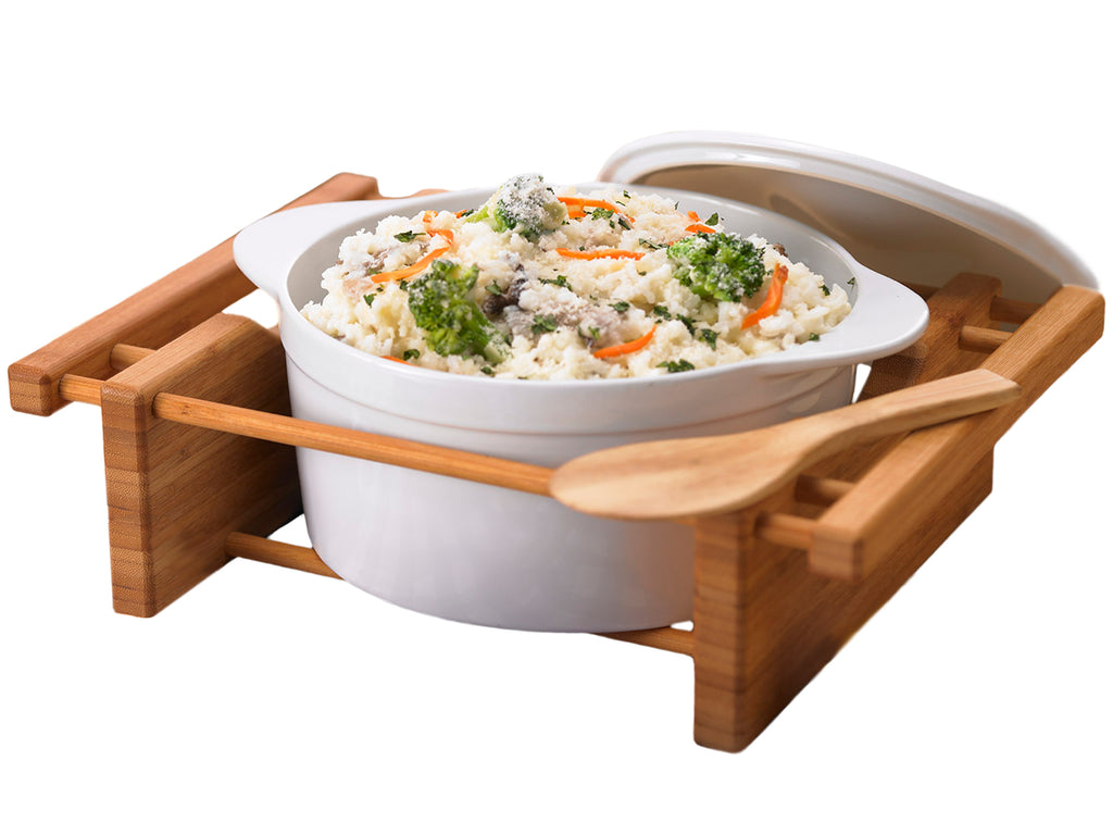Creative Home Grand Buffet 2.5 Qt Covered Casserole Stoneware Dish with Bamboo Cradle