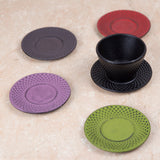 "Creative Home Cast Iron 3.75"" Diam. Round Trivet Coaster Tea Cup Holder, Purple"