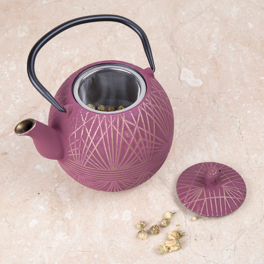 Creative Home 34 oz Cast Iron Tea Pot, New Gold and Pink Color