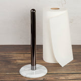 Creative Home Two-Tone Paper Towel Holder with Gunmetal Finish Metal Pole, Marble Base