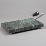"Creative Home Natural Green Marble 5"" L x 8"" W Cheese Slicer Butter Cutter with Rubber Feet"