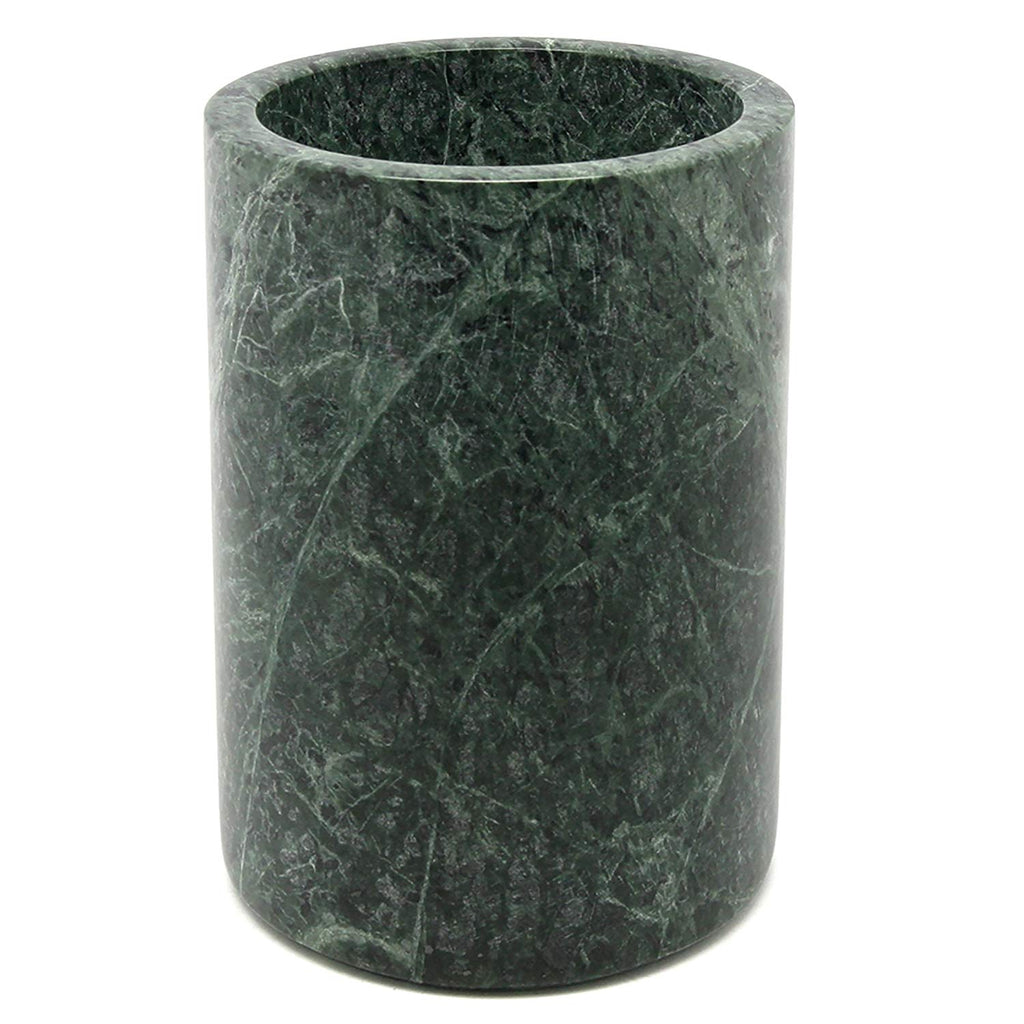 "Creative Home Natural Green Marble Stone, Tool Crock, Utensil Holder, 5"" Diam. x 7"" H"