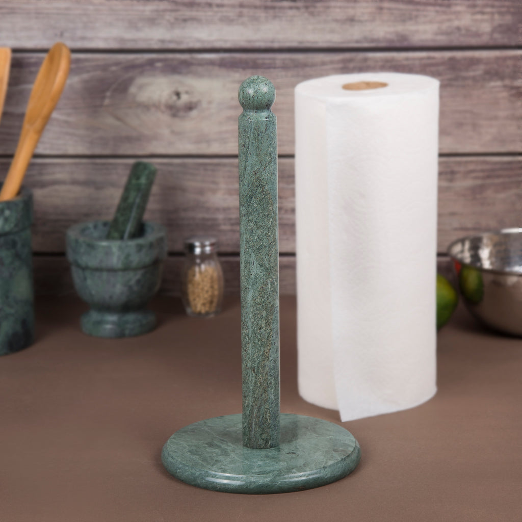 "Creative Home Green Marble Paper Towel Holder, Dia. 6-1/2"" x 12.5"" H"