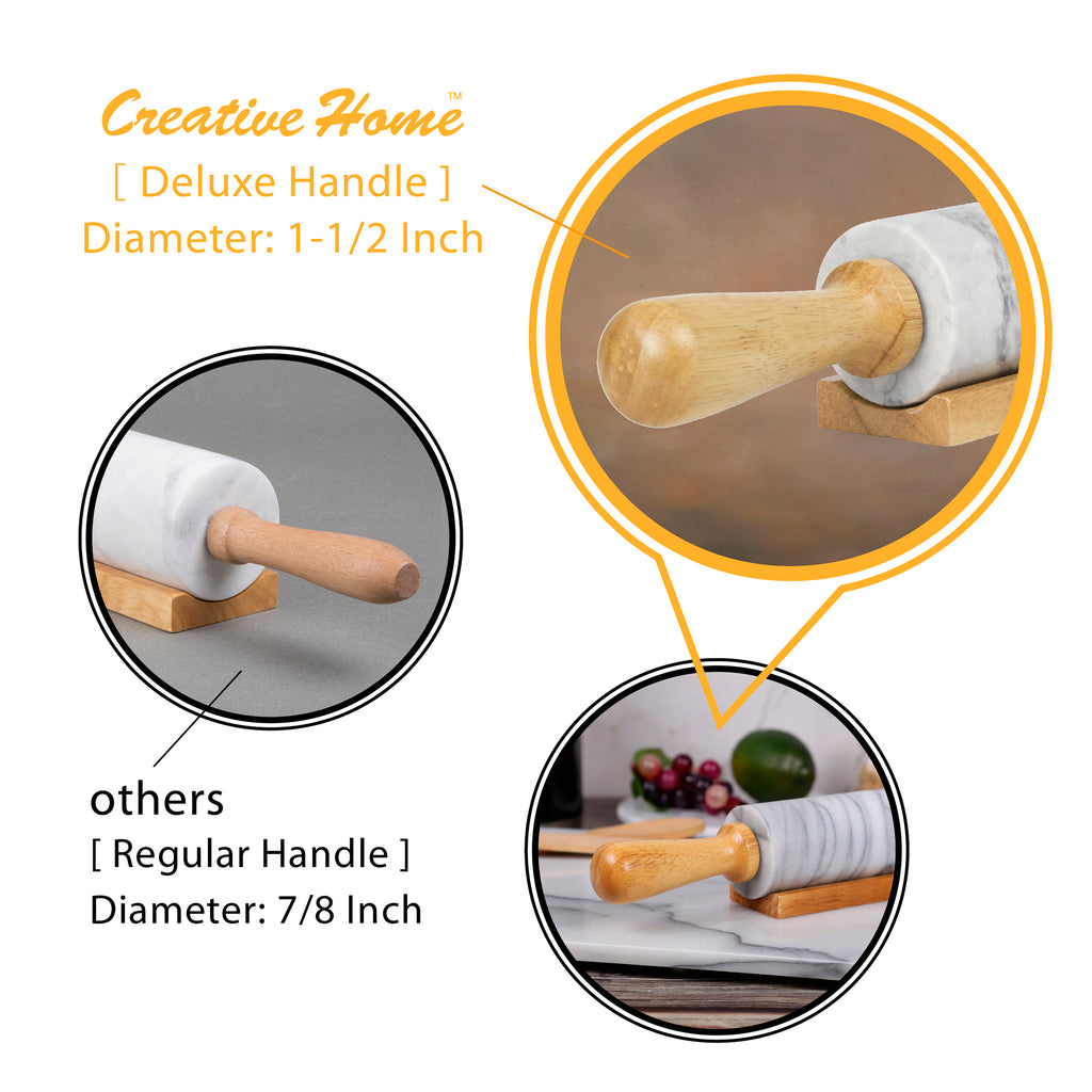 Deluxe Natural Green Marble 18 Inch Rolling Pin with Wooden Cradle