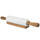 Creative Home White Marble Rolling Pin W/Deluxe Acacia Wood Handles and Cradle