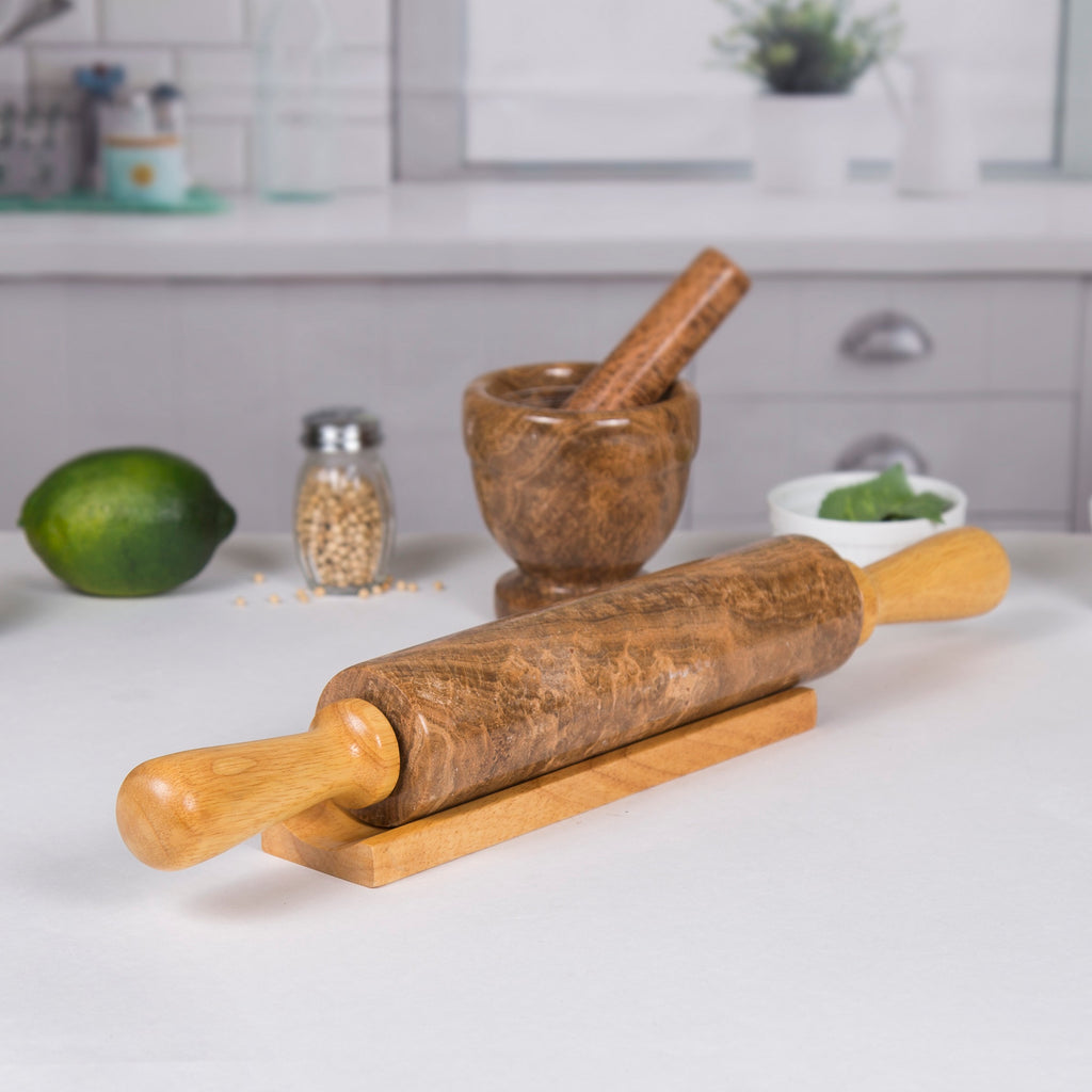Creative Home Mocha Marble Stone Rolling Pin with Wood Handles & Cradle