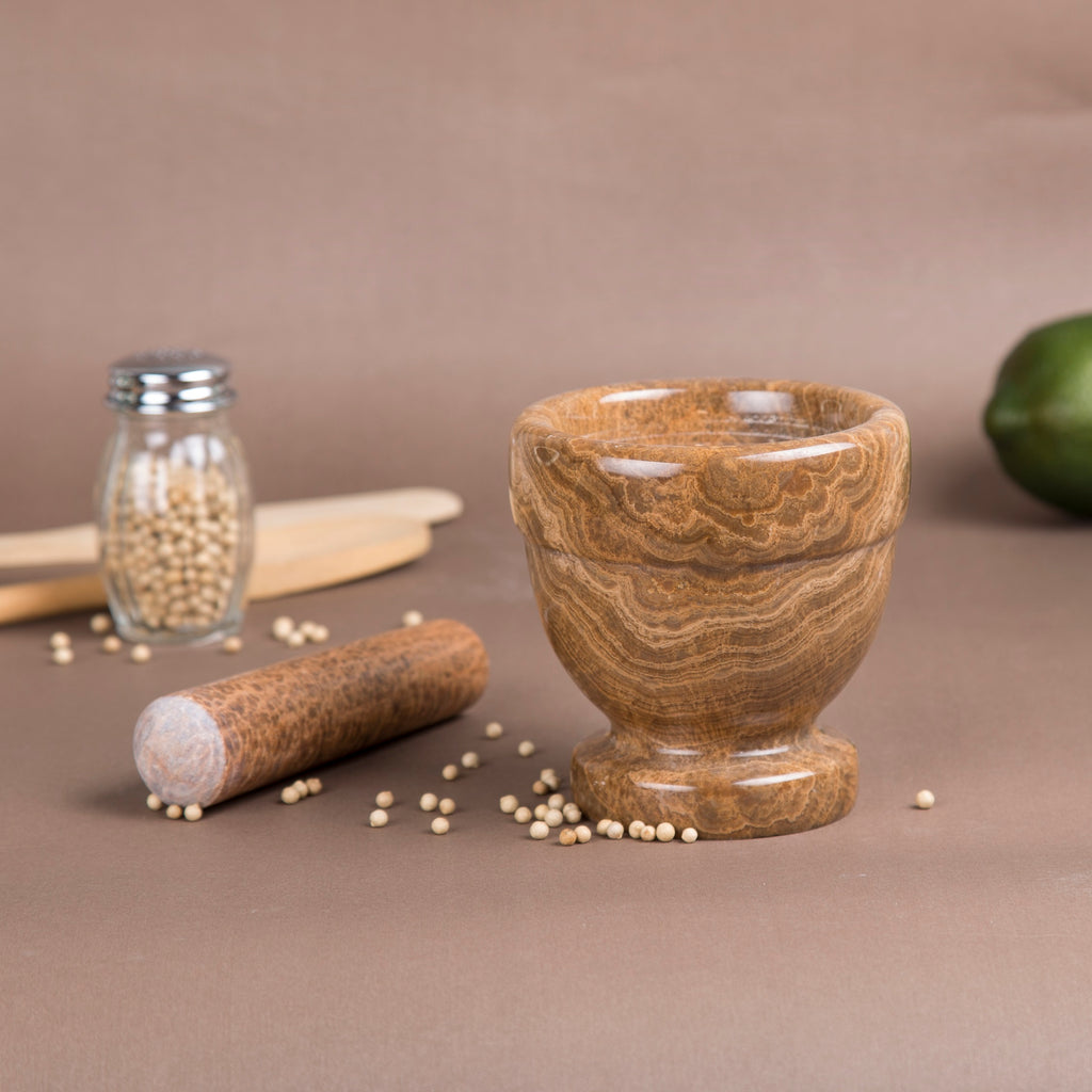 Creative Home Mocha Marble Mortar and Pestle Set