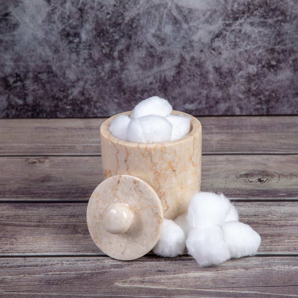 Creative Home Champagne Marble Bullet Cotton Ball Holder