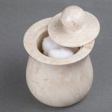 Creative Home Champagne Marble Bath Cotton Ball Holder - Vase Shape