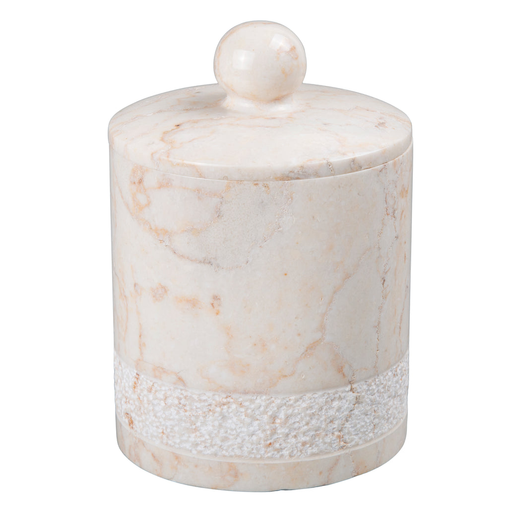 Creative Home Champagne Marble Spa Hand Carved Cotton Ball Holder