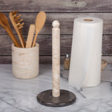 Deluxe Natural Two-Tone Marble Paper Towel Holder, Kitchen Towel Dispenser, Champagne & Charcoal Marble