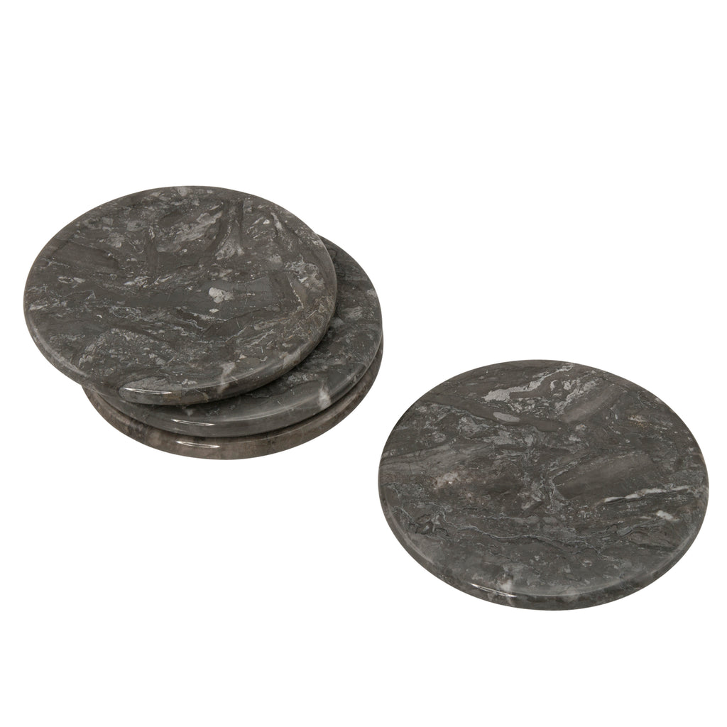 Creative Home 74668 Natural Charcoal Marble Set of 4 Pieces Round Coaster