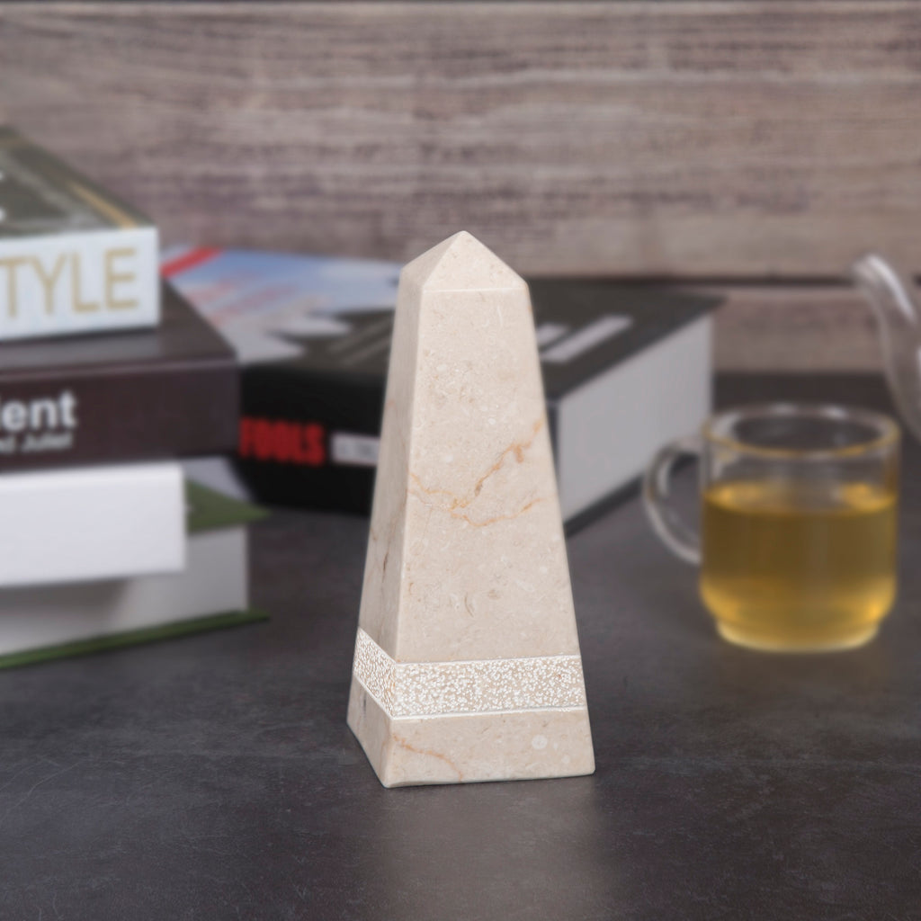 "Creative Home Champagne Marble 8"" Obelisk with Hand Carving"