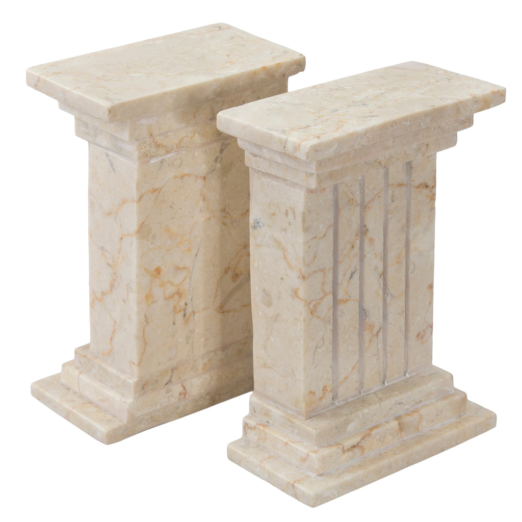 Creative Home Champagne Marble Stone Bookend Set, Column Style