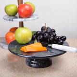 "Creative Home Black Marble 10"" x 10"" Cake Plate on Pedestal"