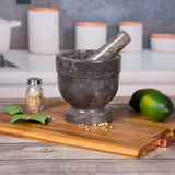"Creative Home Natural Charcoal Marble 5.9"" Diam. x 5.9"" H Mortar & Pestle Set"