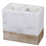 Creative Home Natural Marble and Mango Wood Rectangular Toothbrush Holder