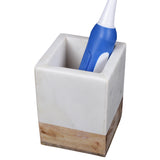 Creative Home Natural Marble and Mango Wood Tumbler Toothbrush Holder