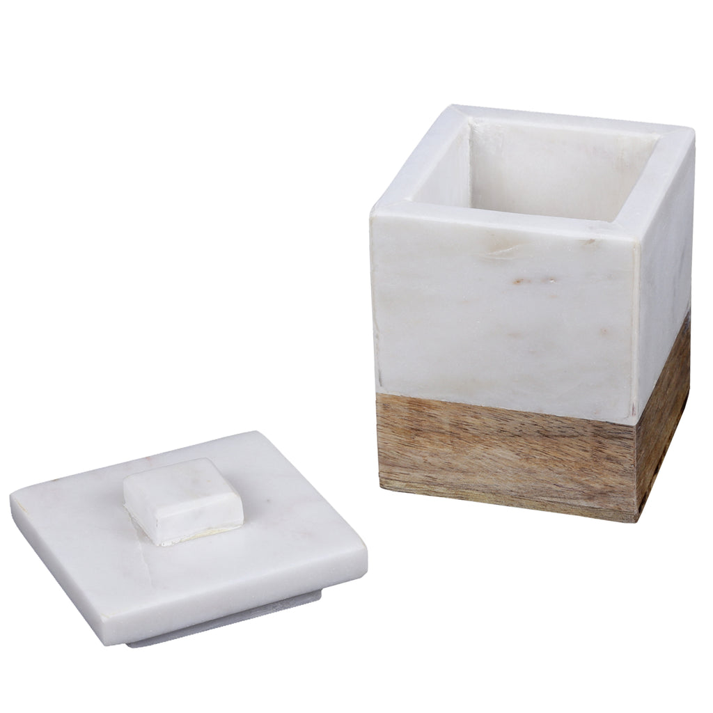 Creative Home Natural Marble and Mango Wood Cotton Ball Swab Holder,