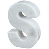 Creative Home Natural Marble Stone Letter S Bookend, Paper Weight