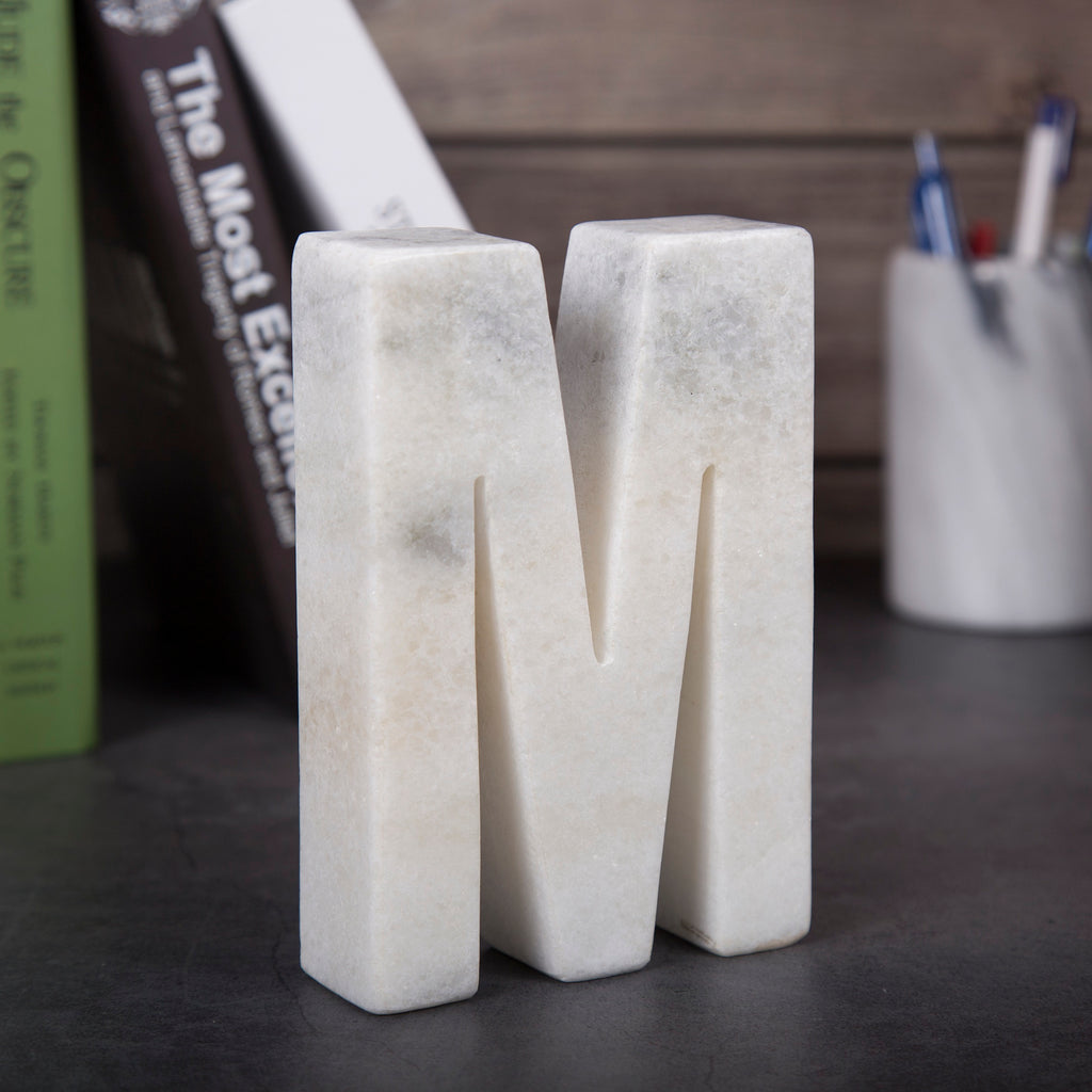 Creative Home Natural Marble Stone Letter M Bookends, Organizer, Paper Weight