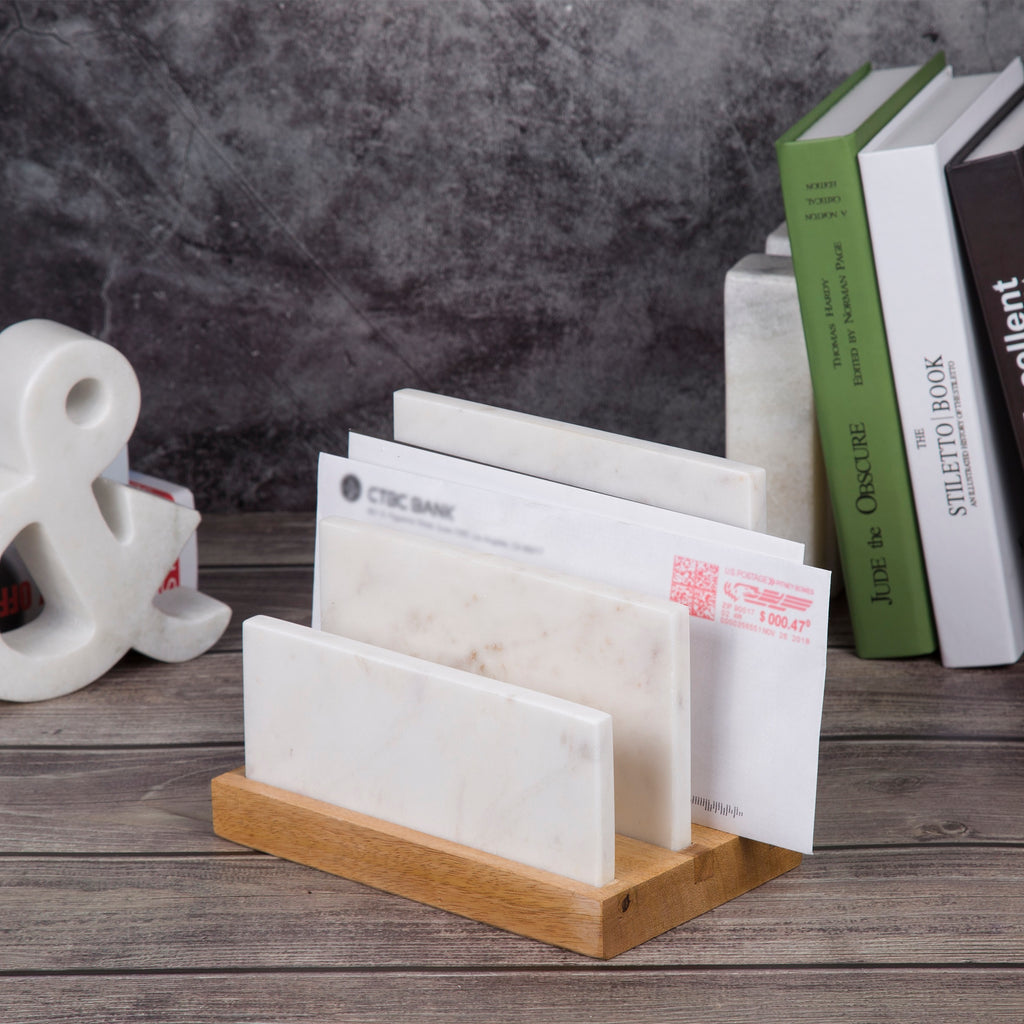 Creative Home Marble and Mango Wood Letter and Document Sorter, Organizer