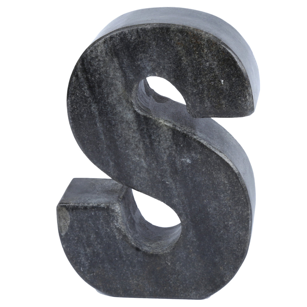 Creative Home Natural Black Stone Marble Letter S, Bookends, Dark Gray