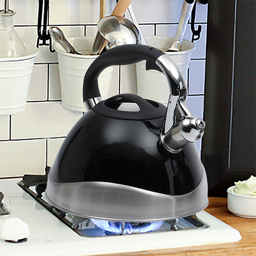 Creative Home Crescendo Black 3.1 Qt Stainless Steel Whistling Tea Kettle