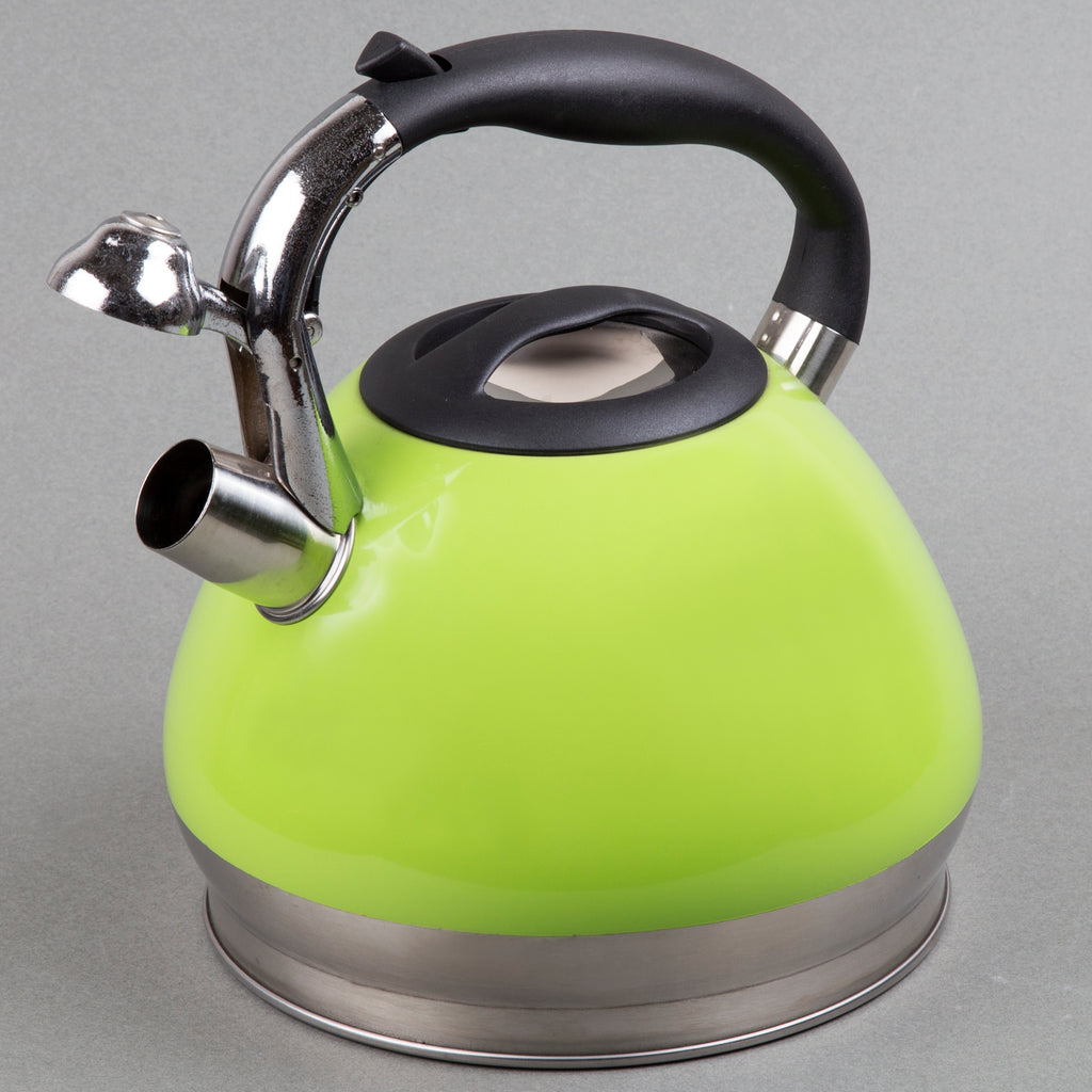 Triumph 3.5 Quart Stainless Steel Whistling Tea Kettle with Aluminum Capsulated Bottom, Green