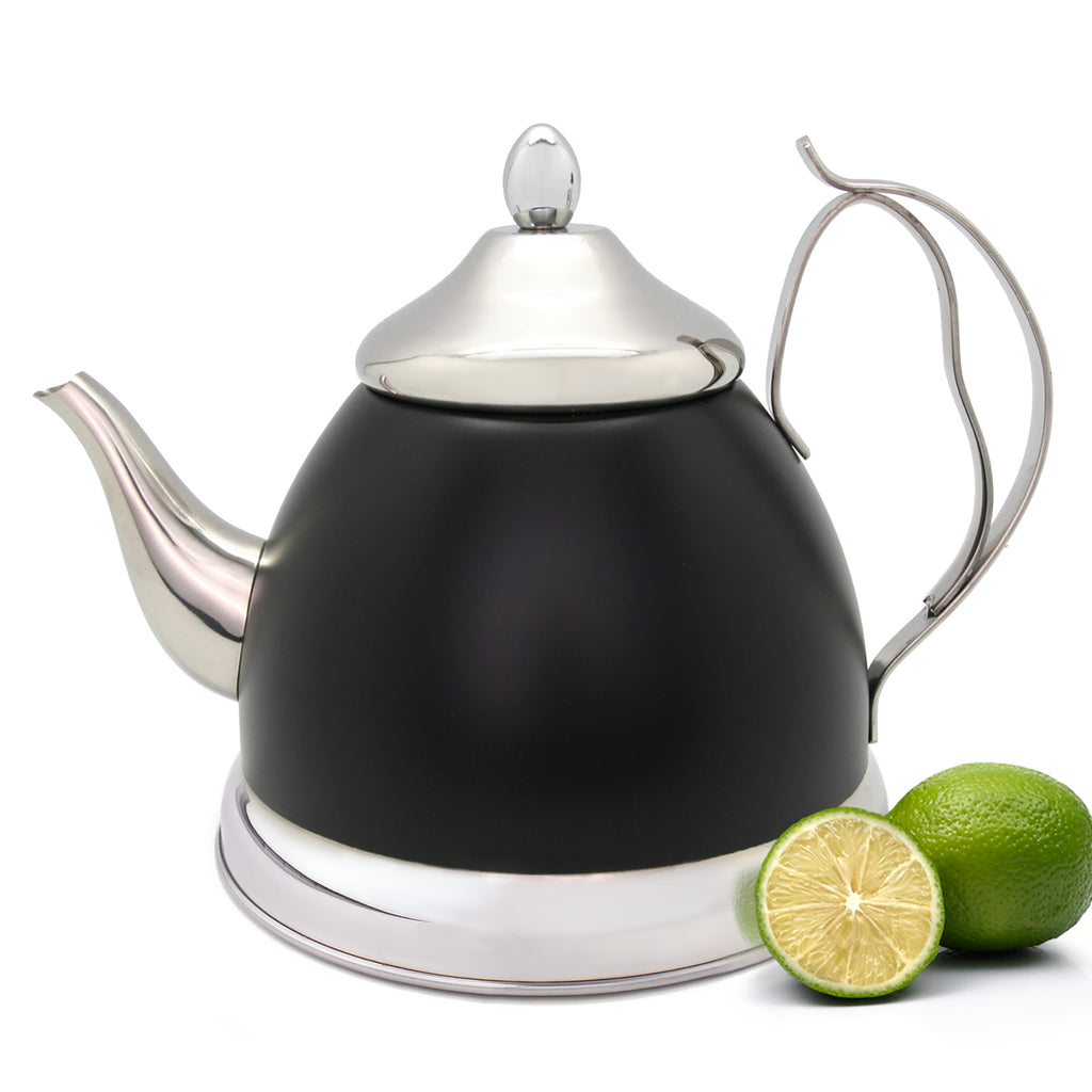 Nobili-Tea 1.0 Quart Stainless Steel Tea Kettle with Removable Infuser Basket and Aluminum Capsulated Bottom