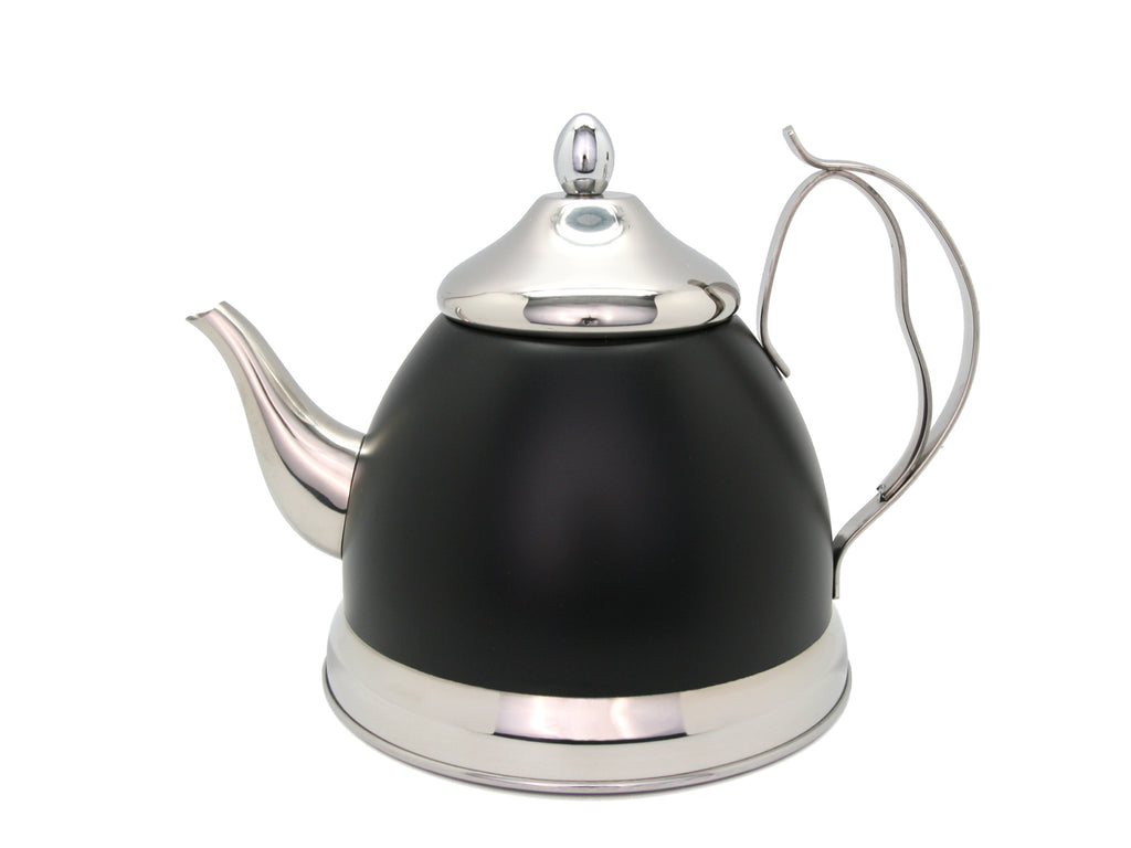 Evco International Nobili 2.0 Qt. Stainless Steel Tea Kettle with Removable Infuser Basket, quart, Opaque Black