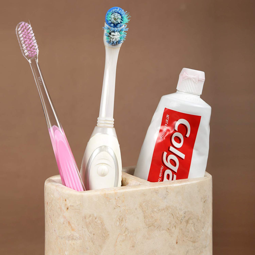 Creative Home Deluxe Natural Champagne Marble Rectangular Toothbrush Holder