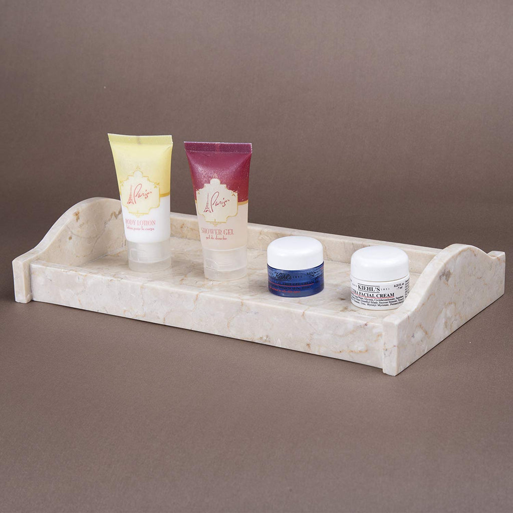 Roll over image to zoom in Creative Home Champagne Marble Stone Small Arch Tray