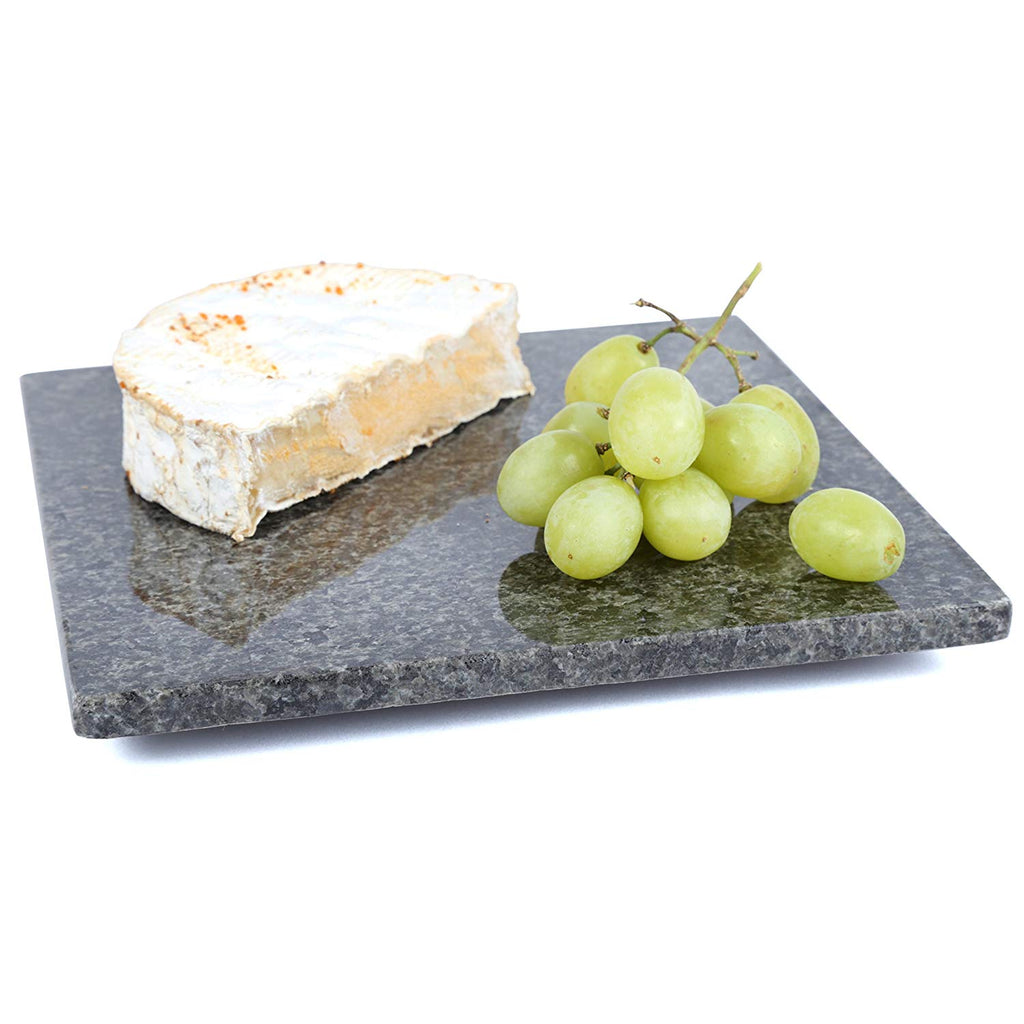"Natural Stone Granite Square Trivet/Cheese Serving Board, 8"", Gray"