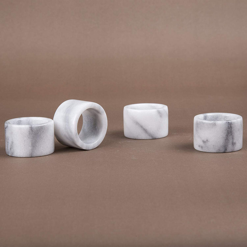 Natural White Marble Set of 4 Piece Napkin Ring, Holder for Table Settings