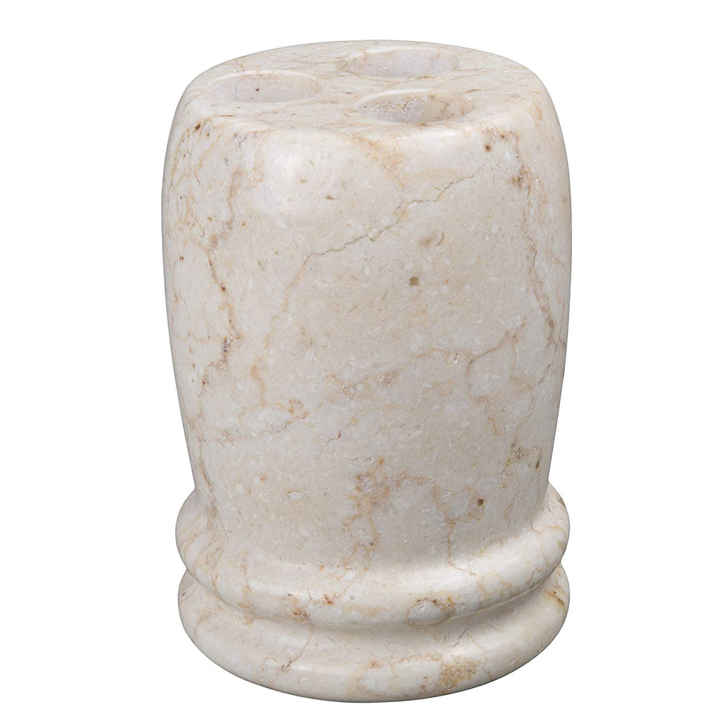 Natural Champagne Marble Stone Toothbrush Holder, Double Rings Collection, Beige