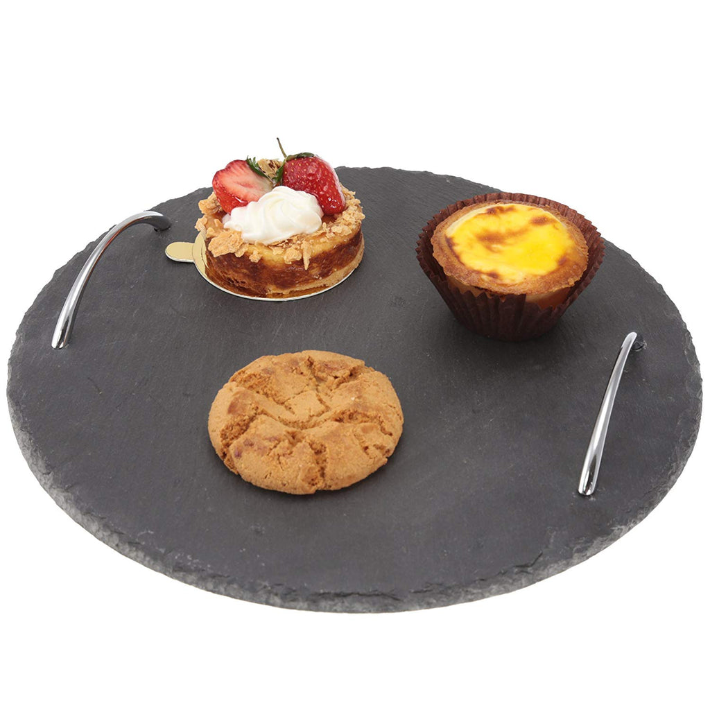 "Board Slate round tray with handle 11.75"","