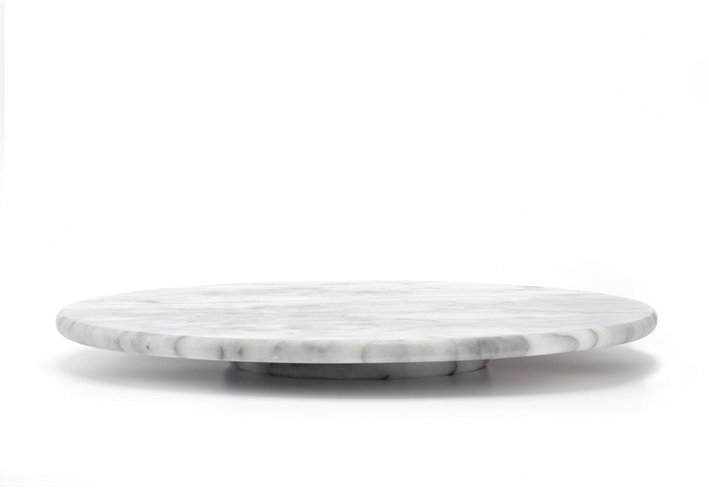 "Creative Home 12"" Natural Marble Lazy Susan Rotating Serving Plate"