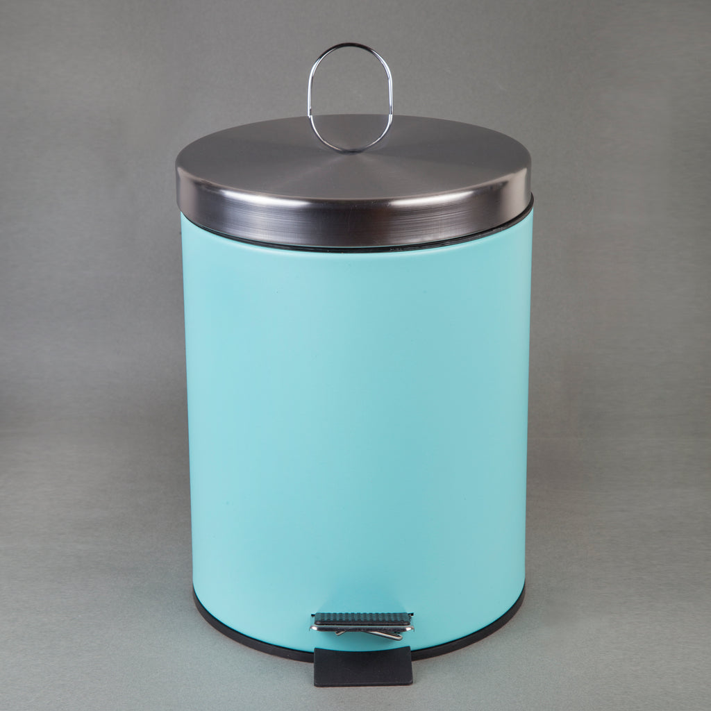 5 Liter Stainless Steel Round Step Trash Can with Pink Powder Coating Finish
